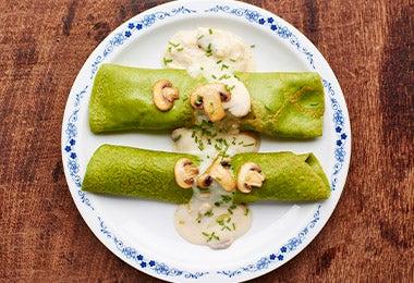 Wrap de espinacas con champiñones