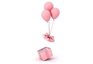 Caja con globos para desayuno sorpresa